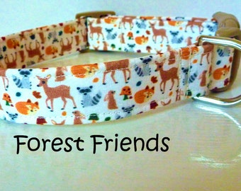 """Forest Animals Deer Raccoon Squirrel Dog Collar - Girl Dog Collar, Boy Dog Collar - """"Forest Friends"""" - Free Colored Buckles"""
