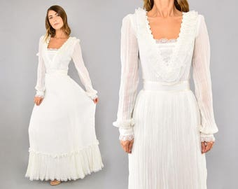 70's Gunne Sax Crinkle Dress