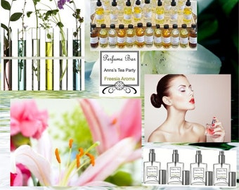 Small Bottle Spray Perfume Party kit. Perfect for parties, showers and events. Everything you need for a perfume party.