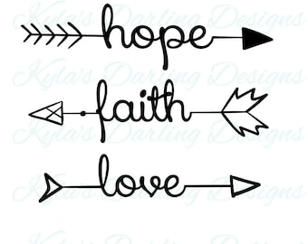 Hope Faith Love Arrow Words