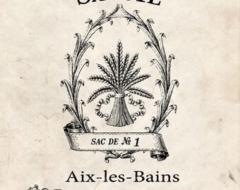 Water Decal Print transfer to furniture, wood or paper – Vintage French Graphic: Grain Sacks #017