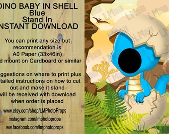 Dino Baby in Shell, Dinosaur, INSTANT DOWNLOAD, head in hole, face in hole, stand in, stand up, standee, Jurassic, Photo Prop, Photo Booth,