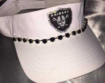 Visors, Raiders, Raiders Visors, Women's Sworovski Crystal Visor, Raiders Logo Visor, Blinged Visor