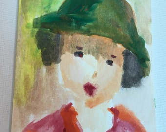 Original ACEO Watercolor Painting- Lady in a Green Hat