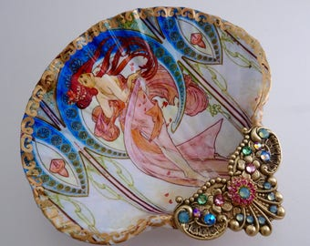 Alfonse Mucha, Shell Jewelry Dish, Ring Dish, Trinket Dish, Shell Art