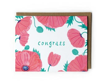 Wedding Greeting Card, Wedding Congratulations Card, Watercolor Flower Card, Blank Cards with Envelopes, Pink Oriental Poppies, 4.25 x 5.5
