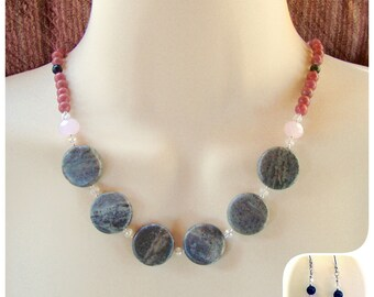 Grey Marble and Pink Necklace, Classy Necklace, Dressy Necklace, Gifts, Stylish, Bold Necklace, Resort Jewelry, Career Jewelry