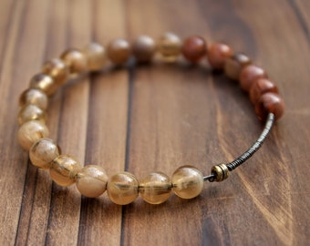 Handmade Up-cycled Guitar String Bangle with Blush Toned Beads