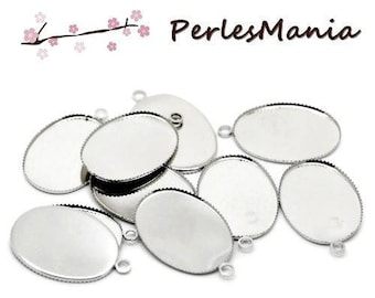 5 supports pendant 18 mm by 25mm tray (S1120229) platinum silver color metal
