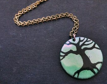 Blue green tree necklace