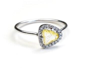Diamond Slice Ring, Diamond Ring, Stacking Ring, Diamond Slice, Organic, Gold, Yellow Diamond, April Birthstone, Pave Diamond, OOAK, Nixin