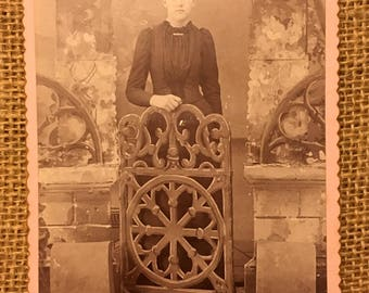 Beautiful Antique 1892 Studio Cabinet Card of Young Woman at Garden Gate/Studio Setting. Very Rare Pink Cabinet Card.