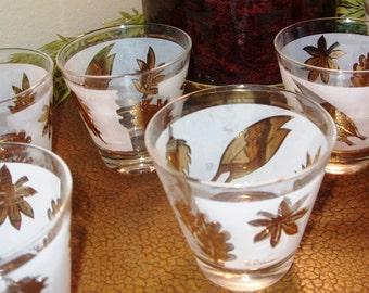 Vintage Barware Glasses, Vintage gold Leaf Frosted Glasses, G. Reeves Glasses, Hi-ball or Whiskey Glasses, Vintage Ice Bucket 1960's