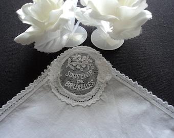 Vintage stunning lace Bruxelles souvenir handkerchief (05973)