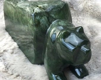 Canadian Nephrite Jade Bear Emerging From Cave - Green Jade - Jade Carving