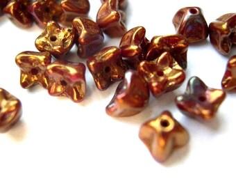 30 Glass beads, Czech, flower shape 5mmX5mm unique metalic color