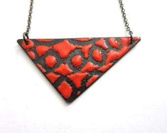 Red Enamel Reversible Necklace