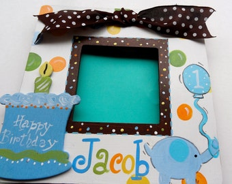 Custom Birthday Boutique Picture Frame Polka Dot and Elephant Design