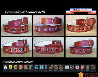 Women's Belts - Western Belts for Men - Ladies Belts - Personalized Belt - Custom Western Leather Belts - Brown Belt - Name Belt made in USA