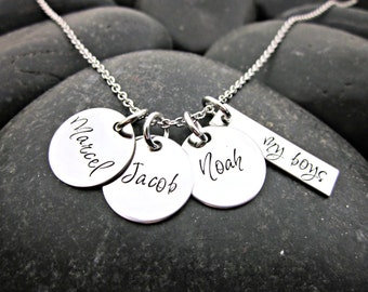 Personalized Mother's Necklace - My Boys - Boy Mom - Mom of Boys
