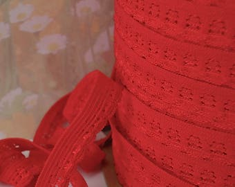 5yd Stretch Lace Red Skinny Elastic Ribbon Trim with Decorative Edging for Headbands Sewing lingerie Single sided Edging Elastic by the yard