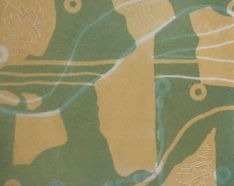 """Square, multi-color, monoprint, one-of-a-kind, Japanese rice paper, aerial view """"Delta Blue"""""""