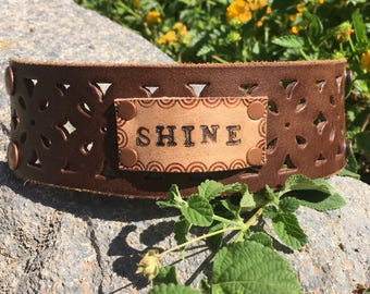 SHINE on vintage punched leather