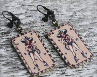 No Guns Cowgirl Earrings - Cowgirl Earrings - Cowgirl Jewelry - Country Jewelry - Sailor Jerry Jewelry - Tattoo Jewelry - Tattoo Earrings