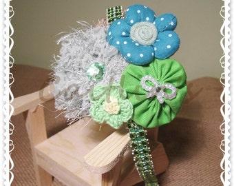 Theresa (Green) - Headband (Childred/ Girls/ Accessories/ Yoyo Flower)