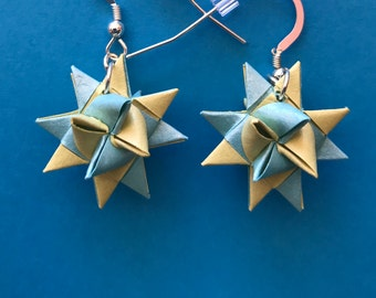Moravian Star Earrings—Yellow & TurquoiseTwo-Toned Shimmer