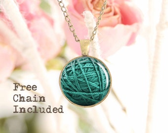 Teal Ball of Yarn necklace. Romantic gift pendant. Free matching chain is included.
