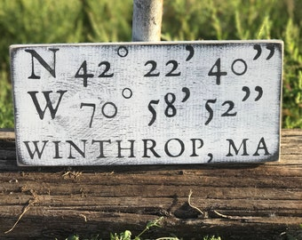 Longitude Latitude Sign, Personalized Latitude Longitude Sign, Home Decor Sign, Rustic Decor, Custom Coordinates Sign, Housewarming Gift