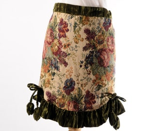 Tapestry apron. tapestry half apron. hostess apron. floral apron.