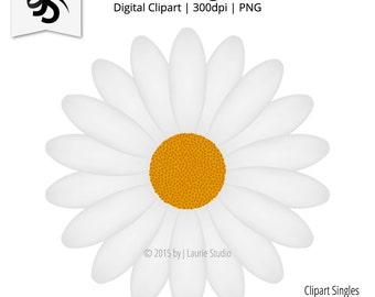 Digital Clipart-Clipart Singles-Daisy-White Flower-White Daisy-Daisy Flower-Graphics-Image-Digital Scrapbook-PNG-Instant Download Clip Art