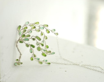 Willow Tree Necklace Sterling Silver, 1st 9th Anniversary Gift Paper Jewelry Apple Mint Jade Green Necklace Tree of Life Weeping Willow Tree