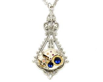 SEPTEMBER Steampunk Necklace, DARK SAPPHIRE Steampunk Wedding Silver Vintage Watch Necklace Victorian SteamPunk Jewelry VictorianCuriosities