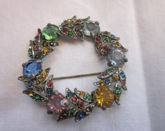 Fred Gray Vintage 1930's Rhinestone Wreath Brooch Signed