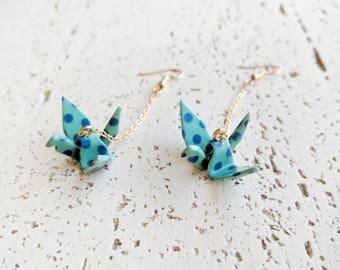 Acrylic Japanese Origami Crane Earrings, Japanese Kimono Accessories, Origami Jewelry, Crane Jewelry, Kimono Earrings - Green Polka Dots