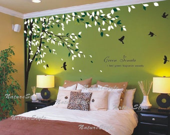 FREE SHIPPING - bedroom wall decal vinyl wall decals birds wall sticker wedding office living room tree wall decal-- branch with flying bird
