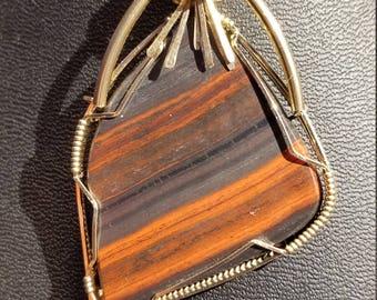 Jasperlite  pendant necklace in 14 K gold filled wire