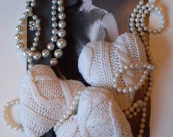 3 Aran Knit Hearts Bowl Fillers, Ornaments, Favors, Decorations