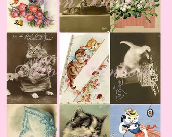Vintage Cats Kitties and Feline Photographs and Postcards Digital Collage Sheet  - INSTANT DOWNLOAD