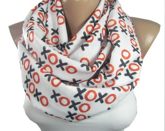 xoxo Scarf Mothers Day Gift For Her Gift For Mom Gift For Girlfriend For Mom Infinity Scarf Winter Scarf xoxo print Valentines Day Gift