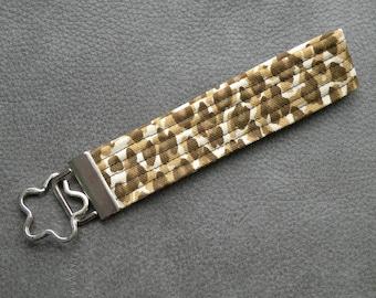 Brown Leopard Animal Print Fabric Key Fob Wristlet