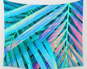 Blue Tapestry, Palm Leaf Tapestry, Tropical Wall Hanging, Tropical Tapestry, Rainbow Tapestry, Plant Tapestry, Tropical Glam Tapestry