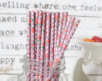 Light Purple With Roses Paper Straws, Straws for Wedding or Birthday Celebration, Roses Straws, Purple, Paper Straws, Wedding Straws