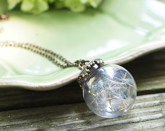 Dandelion Glass Sphere necklace - Glass Orb necklace - real pressed flower, botanical jewelry, gift under 45, wish, holiday, christmas gift