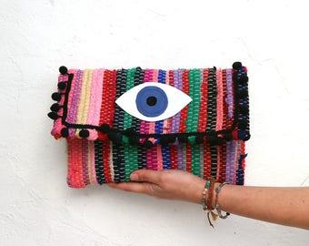 Evil Eye and Pom Pom Envelope Clutch. Boho Chic Kilim Purse. Colorful Hippie Bag. Kourelou Bohemian Clutch Bag. Gift for Her. Festival Wear