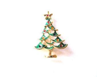Brooch Enamel Gold Plate Tall Green Christmas Tree