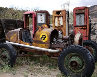 Hot Rod - Old Race Car - Old Hot Rod - Old Gas Pumps - Rusty Old Car - Rusty Hot Rod - Fine Art Photography